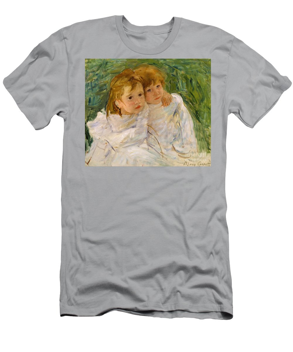 Mary Cassatt Men's T-Shirt (Athletic Fit) featuring the painting The Sisters by Mary Cassatt