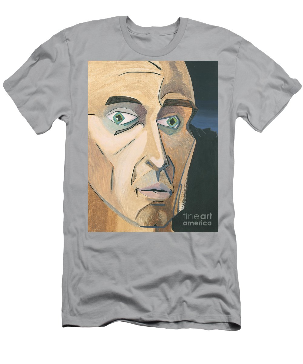 Portrait Men's T-Shirt (Athletic Fit) featuring the painting The Stare by Aaron Joslin