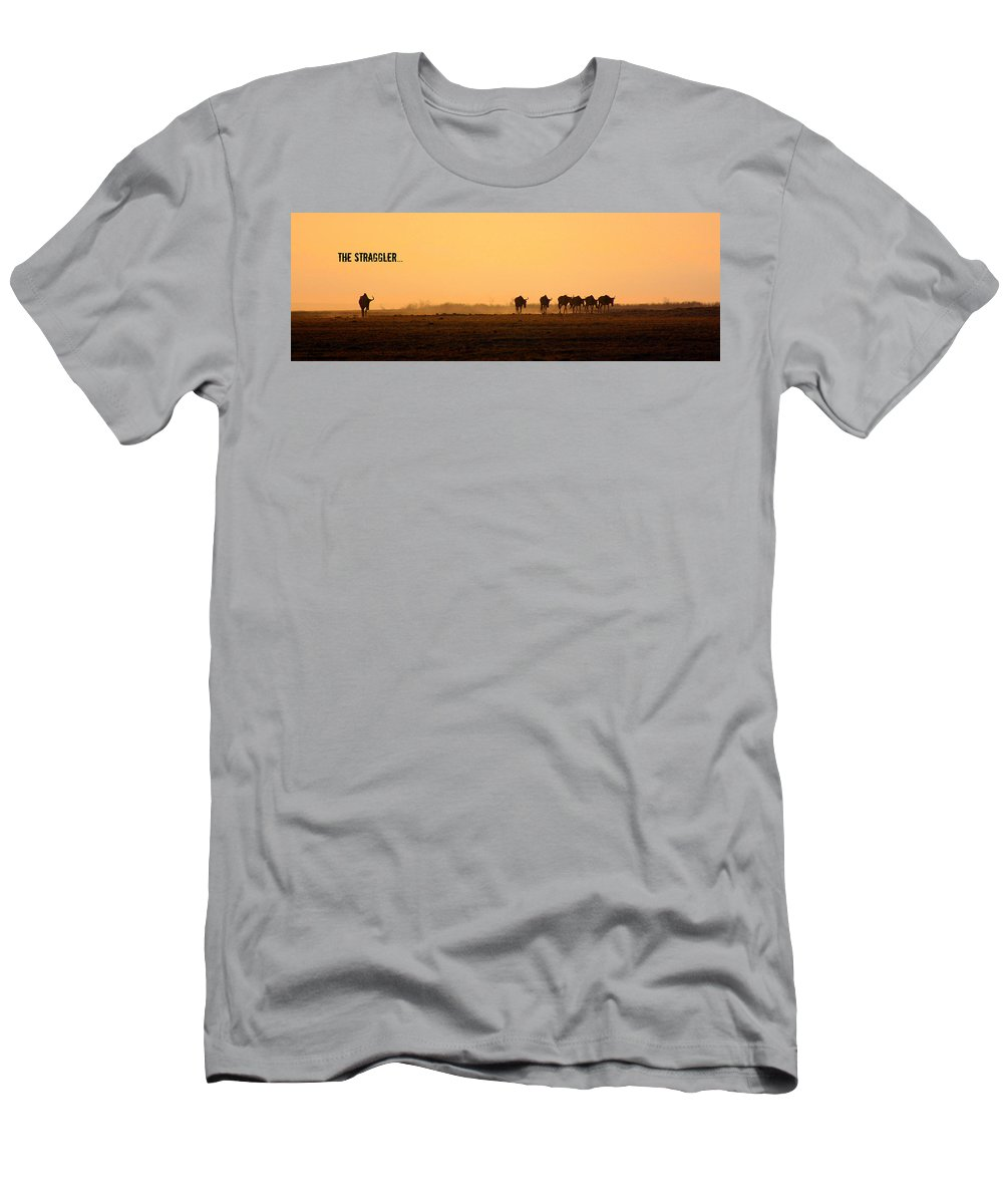 Wildebeests Men's T-Shirt (Athletic Fit) featuring the photograph The Straggler by Amanda Stadther