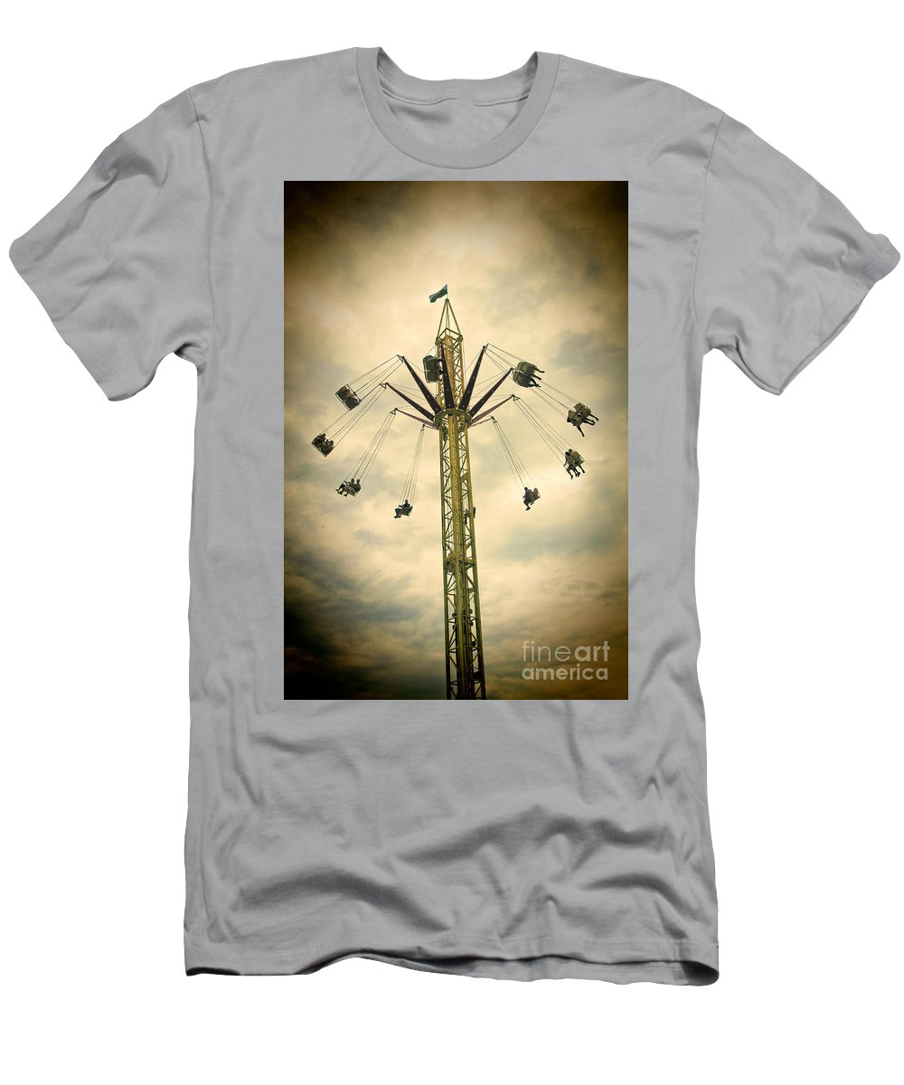 The Tower Men's T-Shirt (Athletic Fit) featuring the photograph The Tower Swing Ride 2 by Steve Purnell