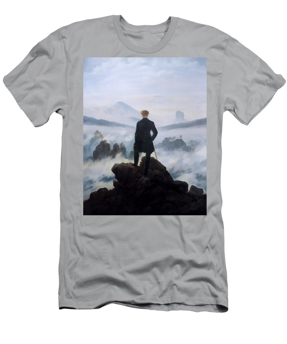 Caspar David Friedrich Men's T-Shirt (Athletic Fit) featuring the digital art The Wanderer Above The Sea by Caspar David Friedrich