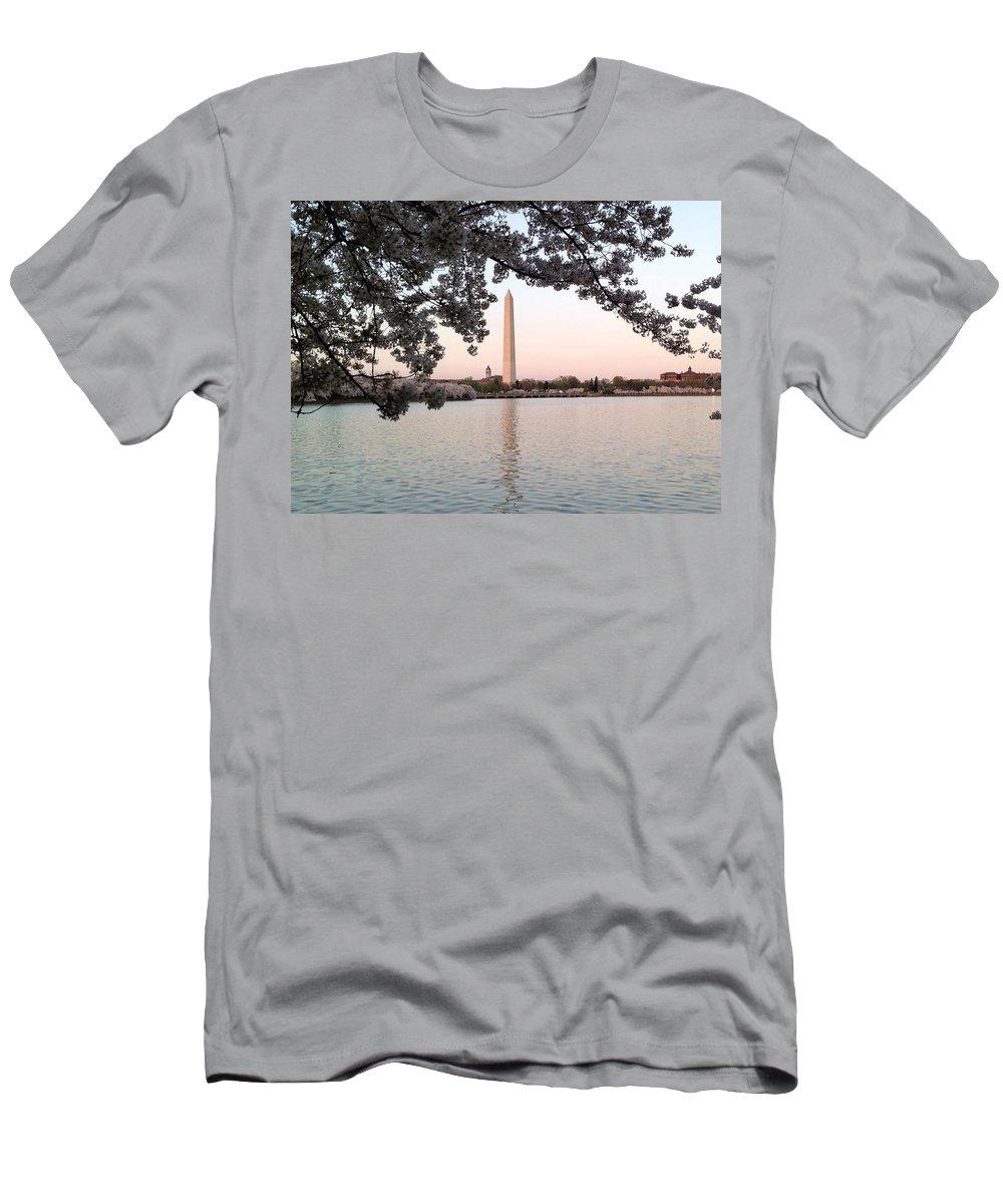 Washington Monument Men's T-Shirt (Athletic Fit) featuring the photograph The Washington Monument by Lois Ivancin Tavaf