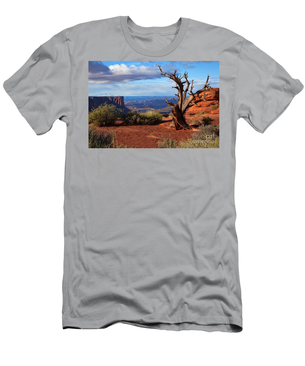 Canyonlands Men's T-Shirt (Athletic Fit) featuring the photograph The Watchman by Jim Garrison