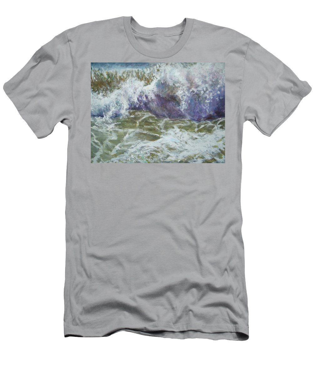 Ocean Wave Men's T-Shirt (Athletic Fit) featuring the painting The Wave by Sheila Holland