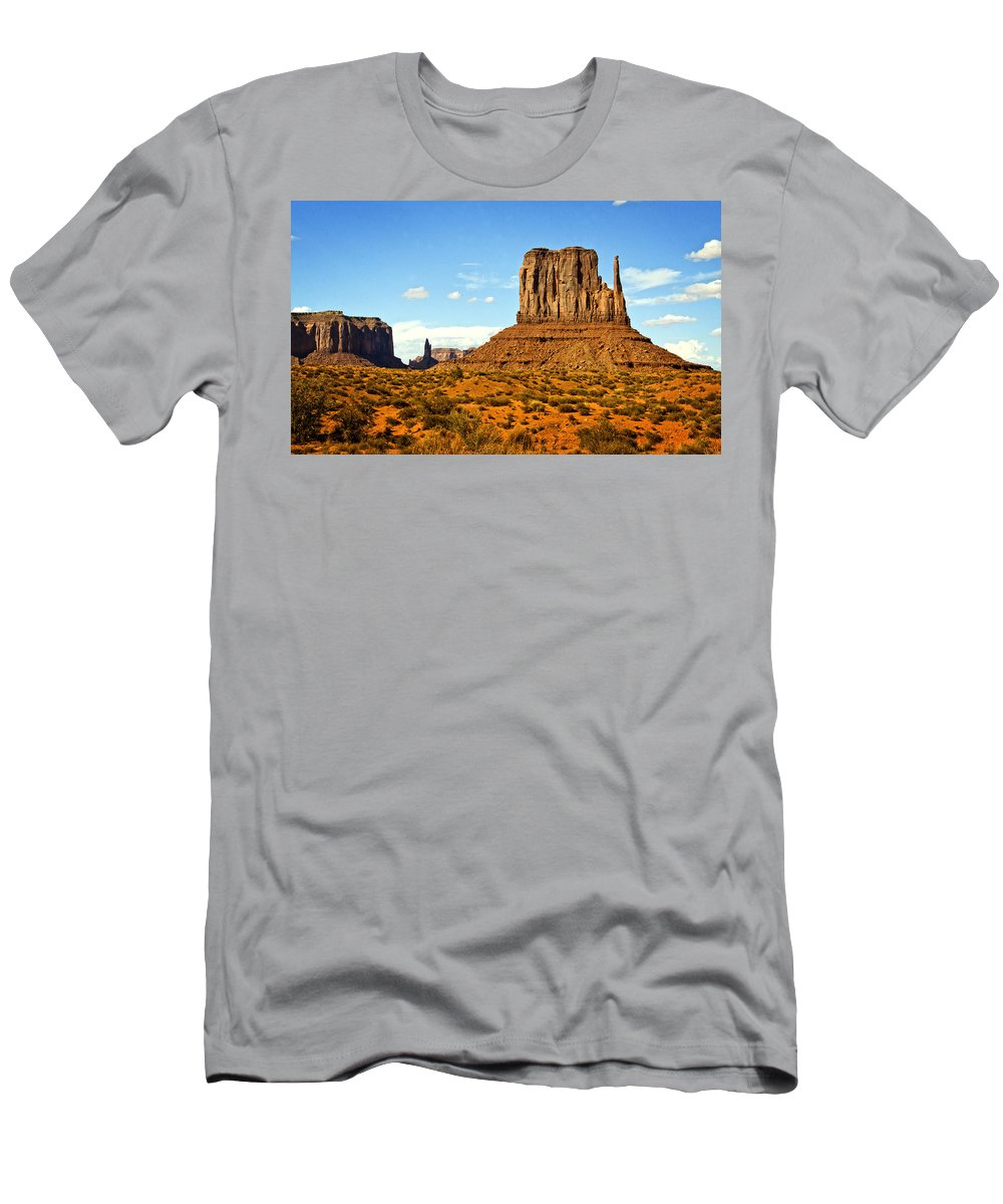 Monument Valley Men's T-Shirt (Athletic Fit) featuring the photograph The West Mitten by Saija Lehtonen