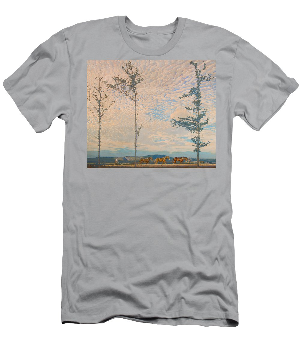 Landscape Men's T-Shirt (Athletic Fit) featuring the painting The Wooden Plough by Edward Louis Lawrenson