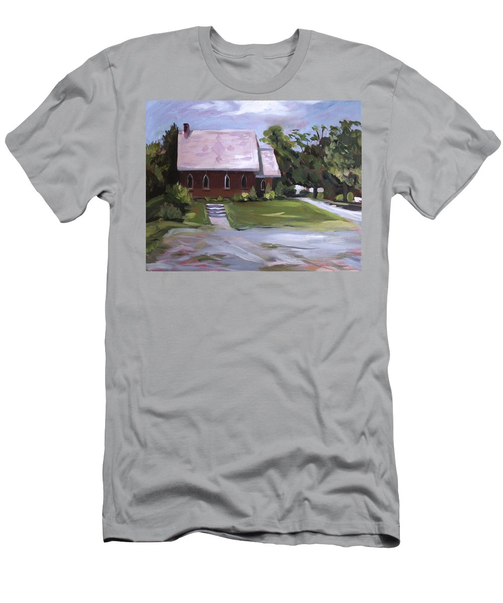 Churches Men's T-Shirt (Athletic Fit) featuring the painting The Wyben Union Church by Nancy Griswold
