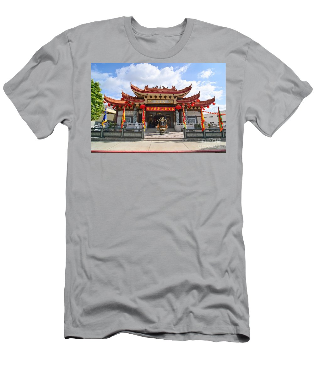 Taoist Men's T-Shirt (Athletic Fit) featuring the photograph Thien Hau Temple A Taoist Temple In Chinatown Of Los Angeles. by Jamie Pham