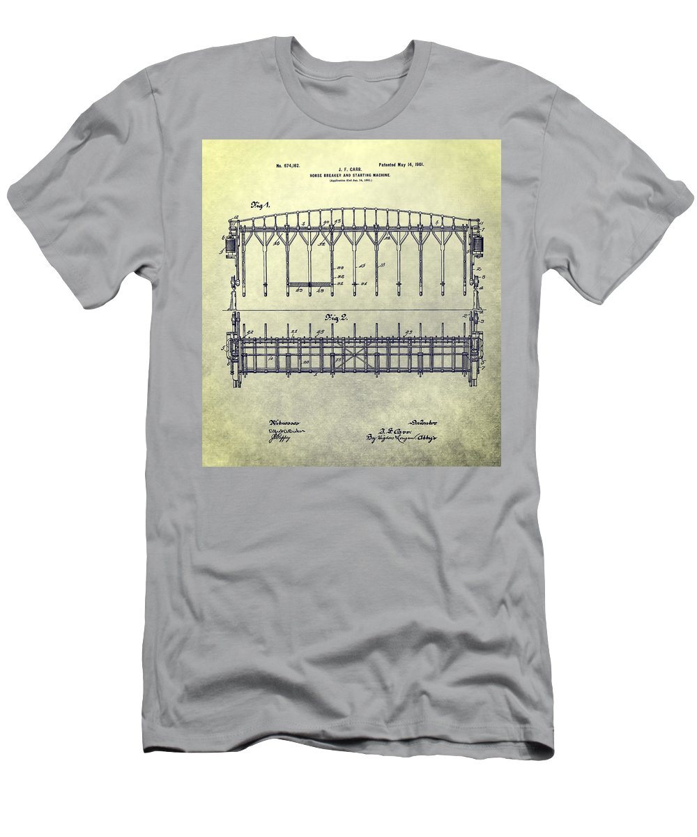 Horse Breaker Patent Men's T-Shirt (Athletic Fit) featuring the mixed media Thoroughbred Race Starting Gate Patent by Dan Sproul