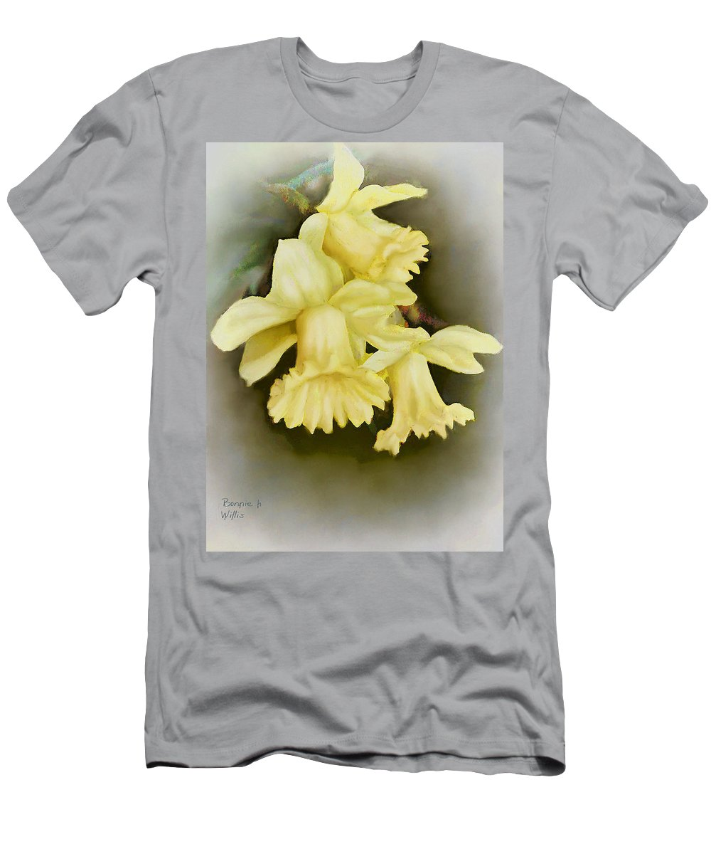 Daffadil Men's T-Shirt (Athletic Fit) featuring the painting Those Blooming Daffadils by Bonnie Willis