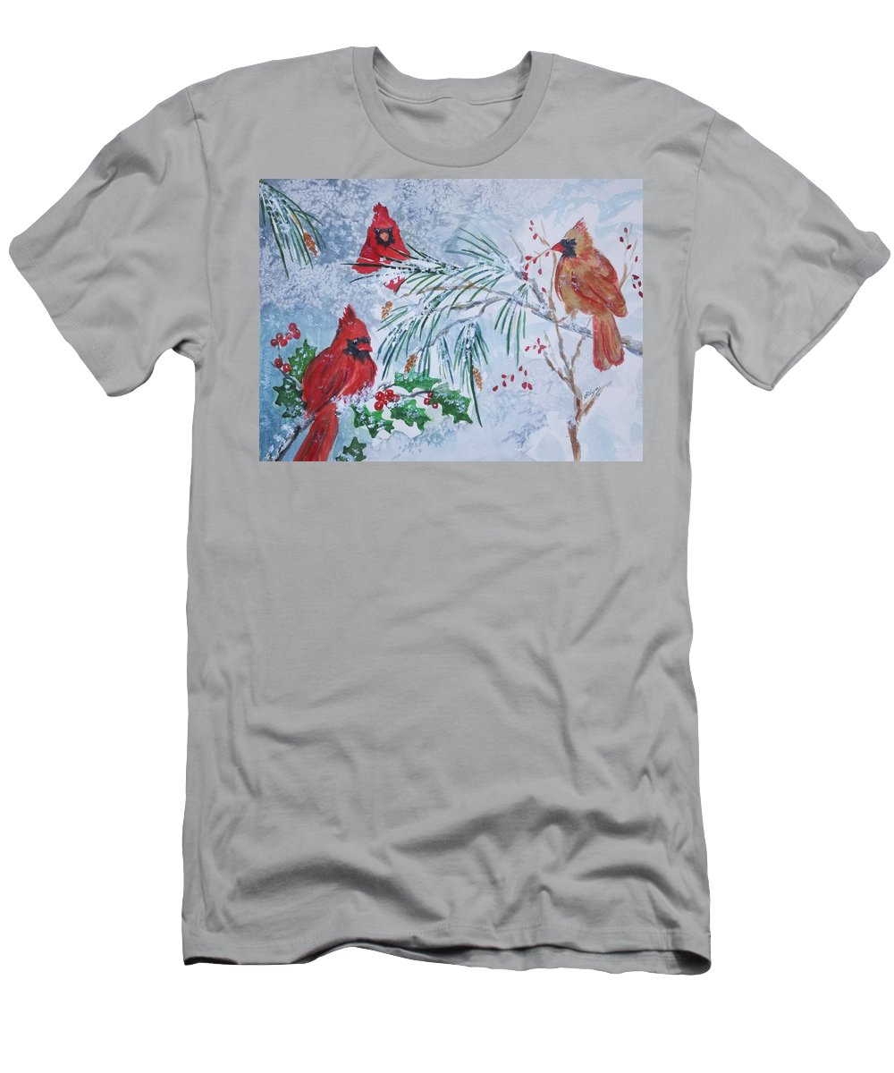 Cardinals Men's T-Shirt (Athletic Fit) featuring the painting Three Cardinals In The Snow With Holly by Ellen Levinson