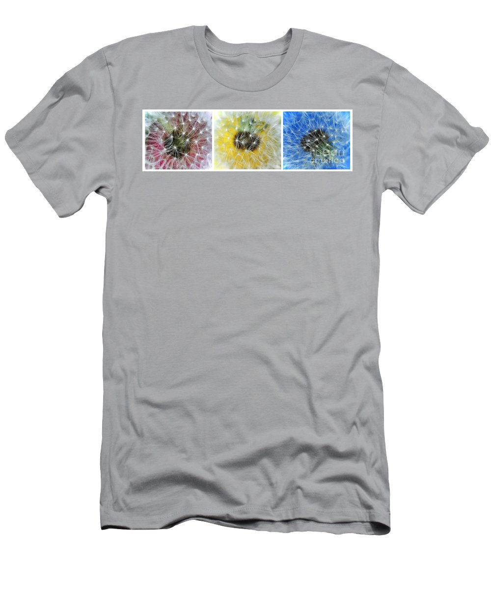 Photography Men's T-Shirt (Athletic Fit) featuring the photograph Three Dandelions In A Line by Kaye Menner