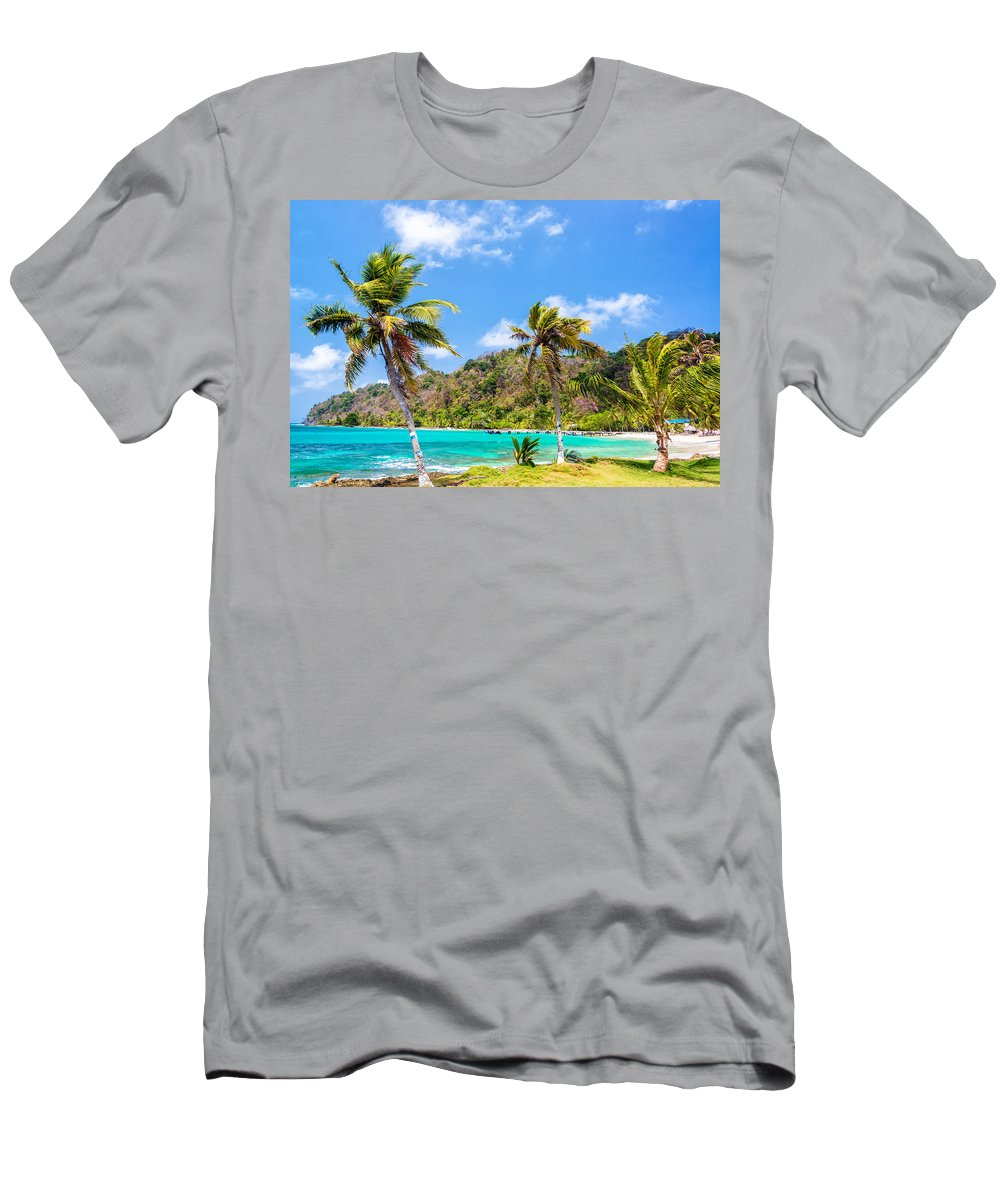 Capurgana Men's T-Shirt (Athletic Fit) featuring the photograph Three Palm Trees In Panama by Jess Kraft