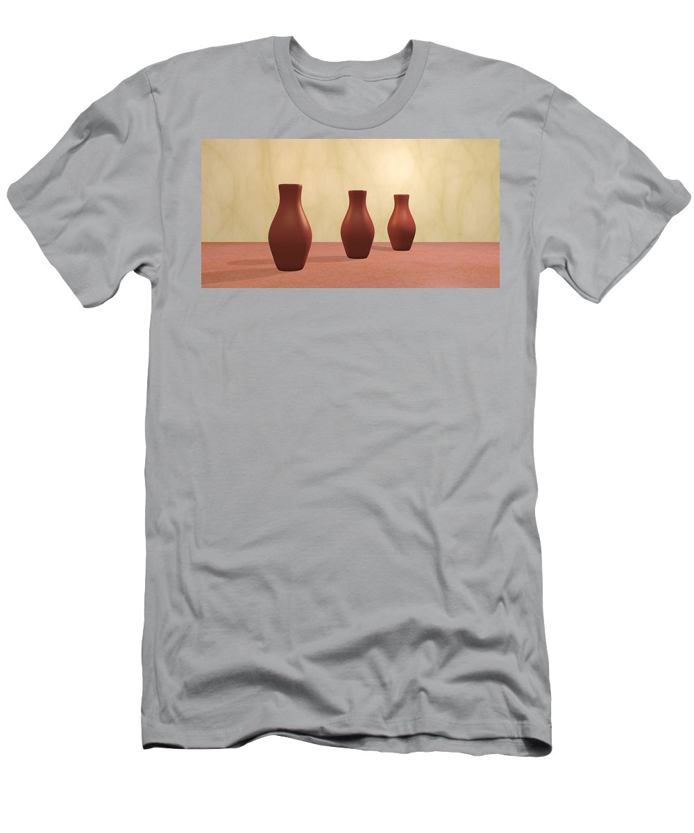 Decorative Men's T-Shirt (Athletic Fit) featuring the digital art Three Vases by Gabiw Art