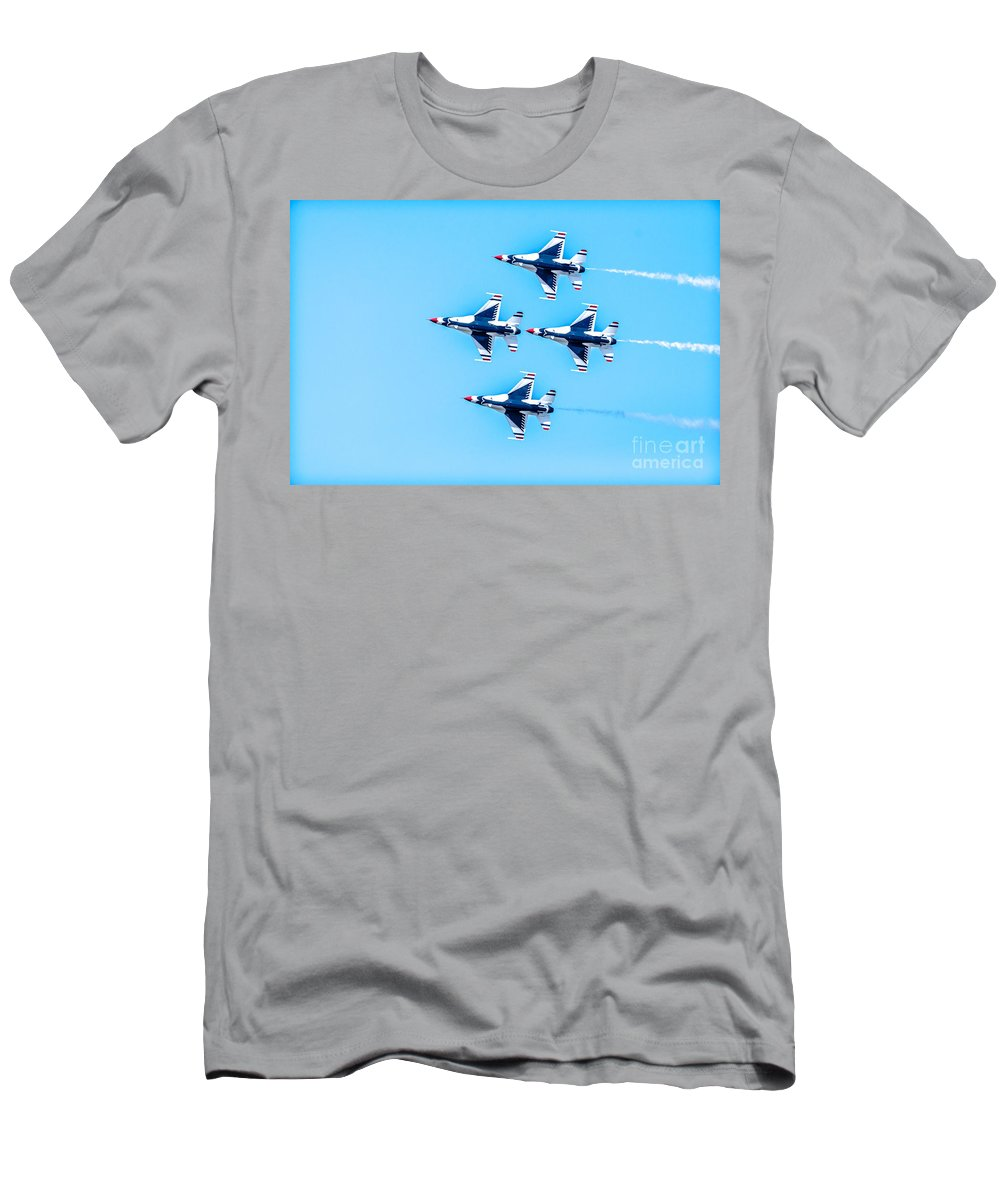 Thunderbirds Men's T-Shirt (Athletic Fit) featuring the photograph Thunderbirds Flying Over by Amel Dizdarevic