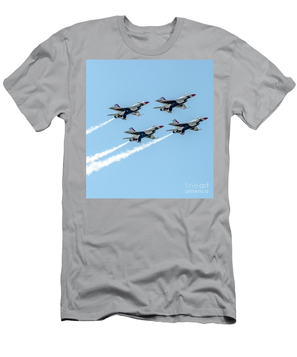 Thunderbird Men's T-Shirt (Athletic Fit) featuring the photograph Thunderbirds In Formation by Amel Dizdarevic