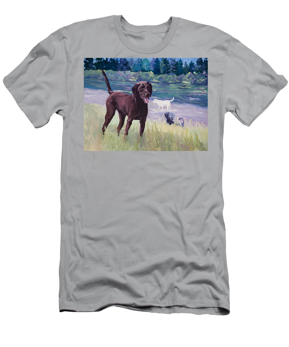 Labradors Men's T-Shirt (Athletic Fit) featuring the painting Time To Explore by Sheila Wedegis