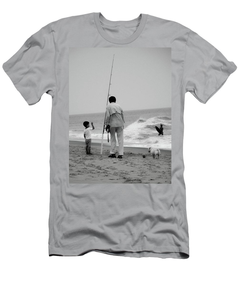 Fish Men's T-Shirt (Athletic Fit) featuring the photograph To Fish Or Surf That Is The Question by Trish Tritz