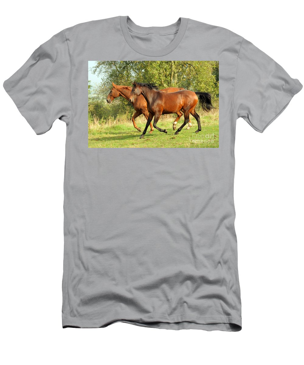 Horse Men's T-Shirt (Athletic Fit) featuring the photograph Together Now by Angel Ciesniarska