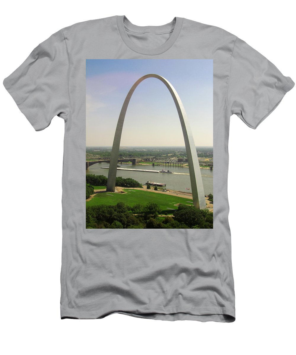 Mississippi River Men's T-Shirt (Athletic Fit) featuring the photograph Top Of The Riverfront by Garry McMichael