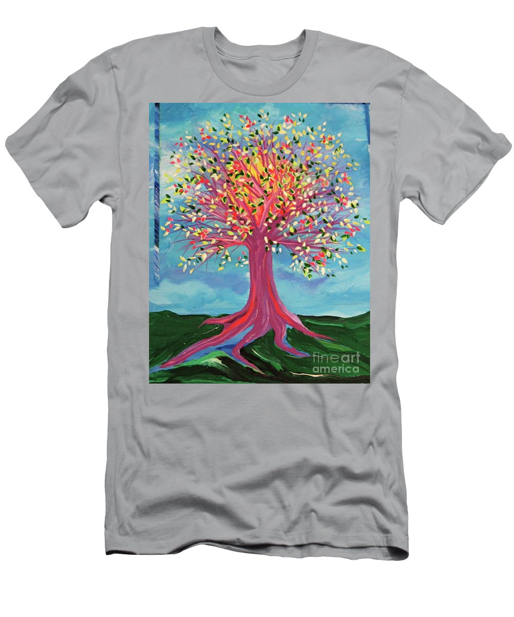 Tree Men's T-Shirt (Athletic Fit) featuring the painting Tori's Tree By Jrr by First Star Art