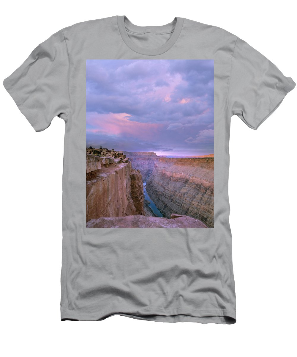 Feb0514 Men's T-Shirt (Athletic Fit) featuring the photograph Toroweap Overlook Grand Canyon Nparizona by Tim Fitzharris