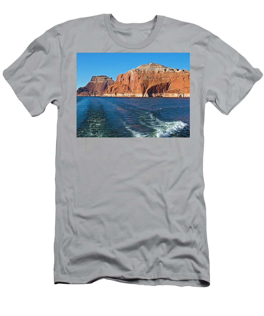 Tour Boat Wake Lake Powell In Glen Canyon National Recreation Area Men's T-Shirt (Athletic Fit) featuring the photograph Tour Boat Wake In Lake Powell In Glen Canyon National Recreation Area-utah by Ruth Hager