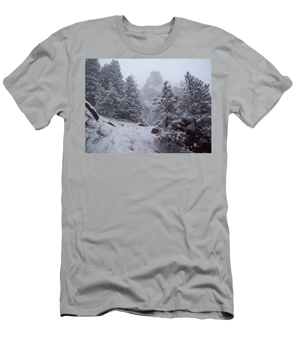 Bear Peak Mountain Men's T-Shirt (Athletic Fit) featuring the photograph Towards Top Of Bear Peak Mountain During Intense Snow Storm - North Side by Daniel Larsen