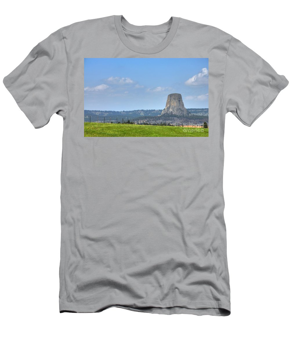 Devils Tower Men's T-Shirt (Athletic Fit) featuring the photograph The Tower by Anthony Wilkening