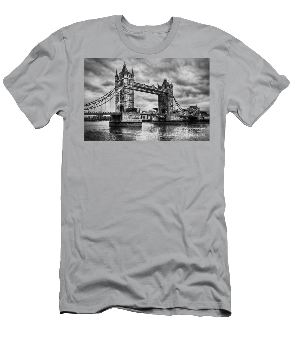 Tower Men's T-Shirt (Athletic Fit) featuring the photograph Tower Bridge In London Uk Black And White by Michal Bednarek