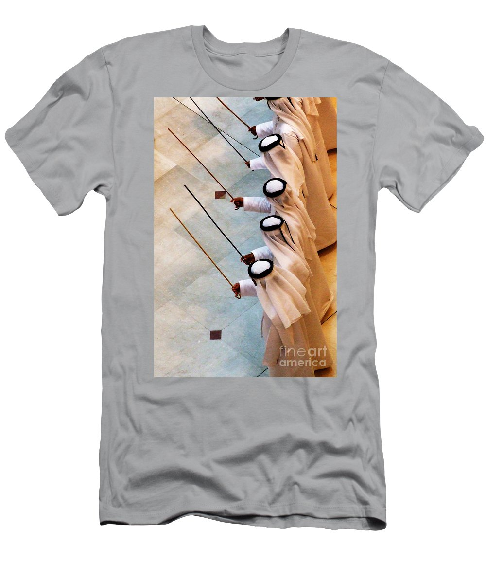 United Men's T-Shirt (Athletic Fit) featuring the photograph Traditional Emirati Men's Dance by Andrea Anderegg