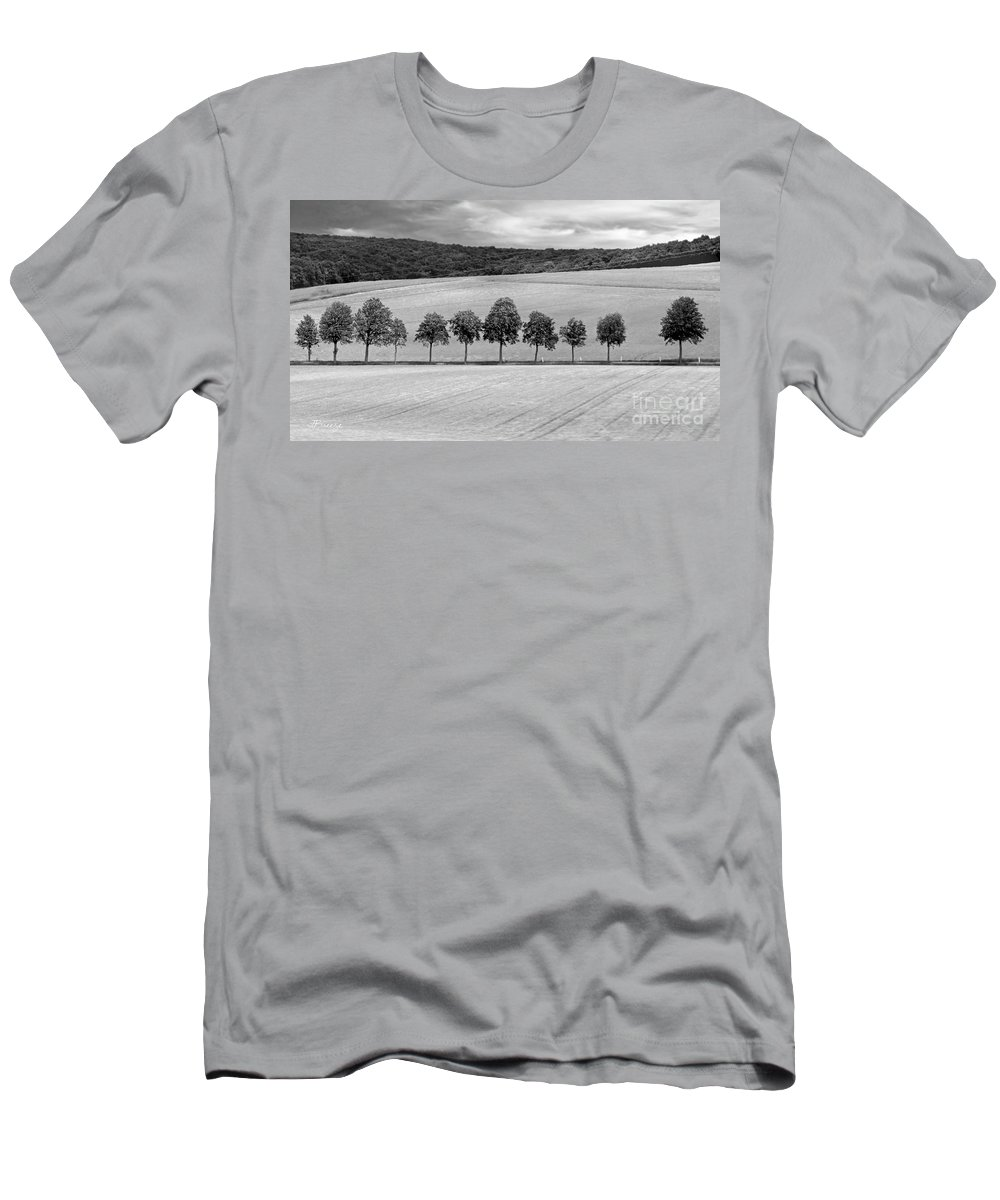 Tuscany Men's T-Shirt (Athletic Fit) featuring the photograph Train With A View Bw by Jennie Breeze