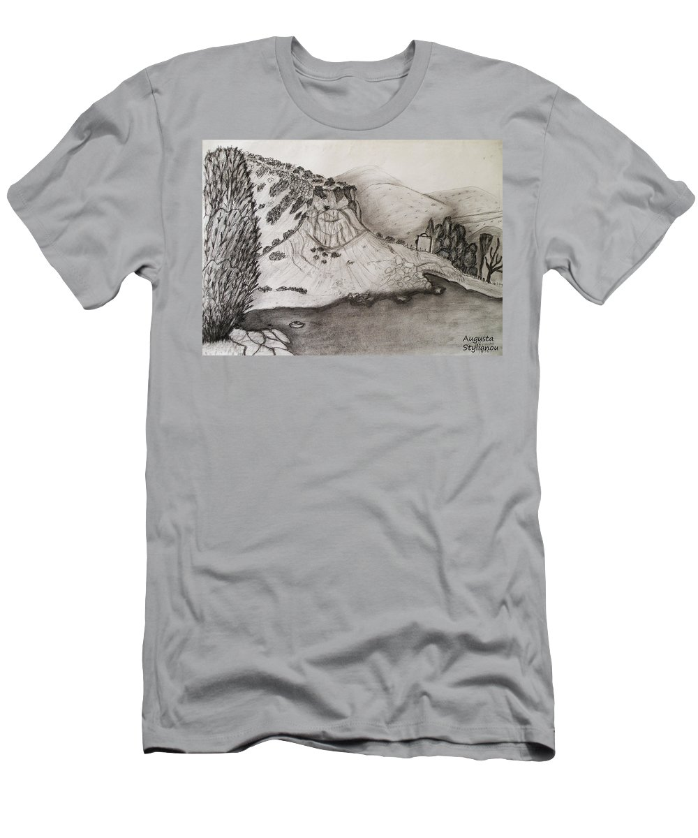 Tranquility Men's T-Shirt (Athletic Fit) featuring the drawing Tranquility by Augusta Stylianou