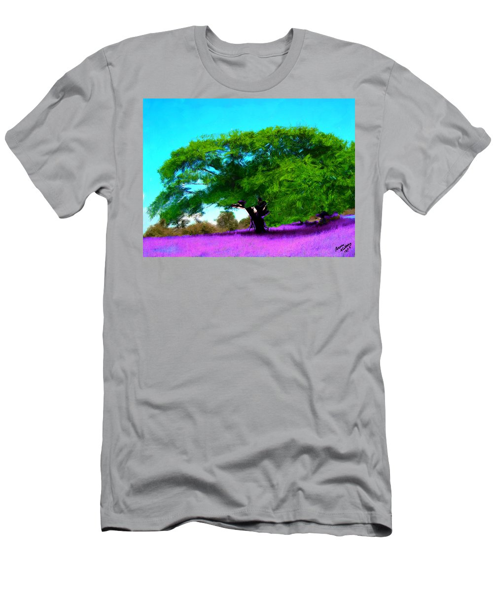 Tree Men's T-Shirt (Athletic Fit) featuring the painting Tree In Lavender by Bruce Nutting