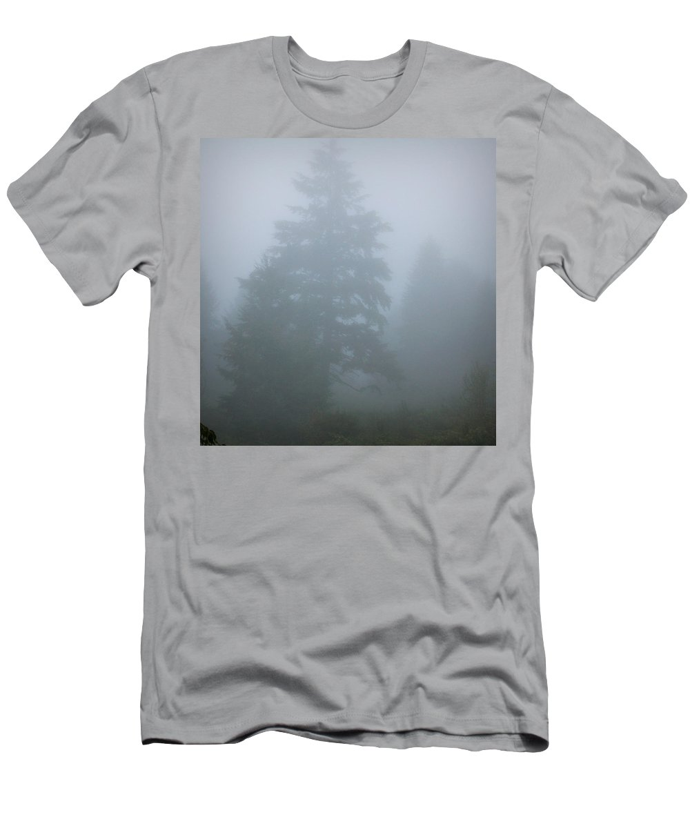 Oregon Men's T-Shirt (Athletic Fit) featuring the photograph Trees In Fog by Katie Wing Vigil