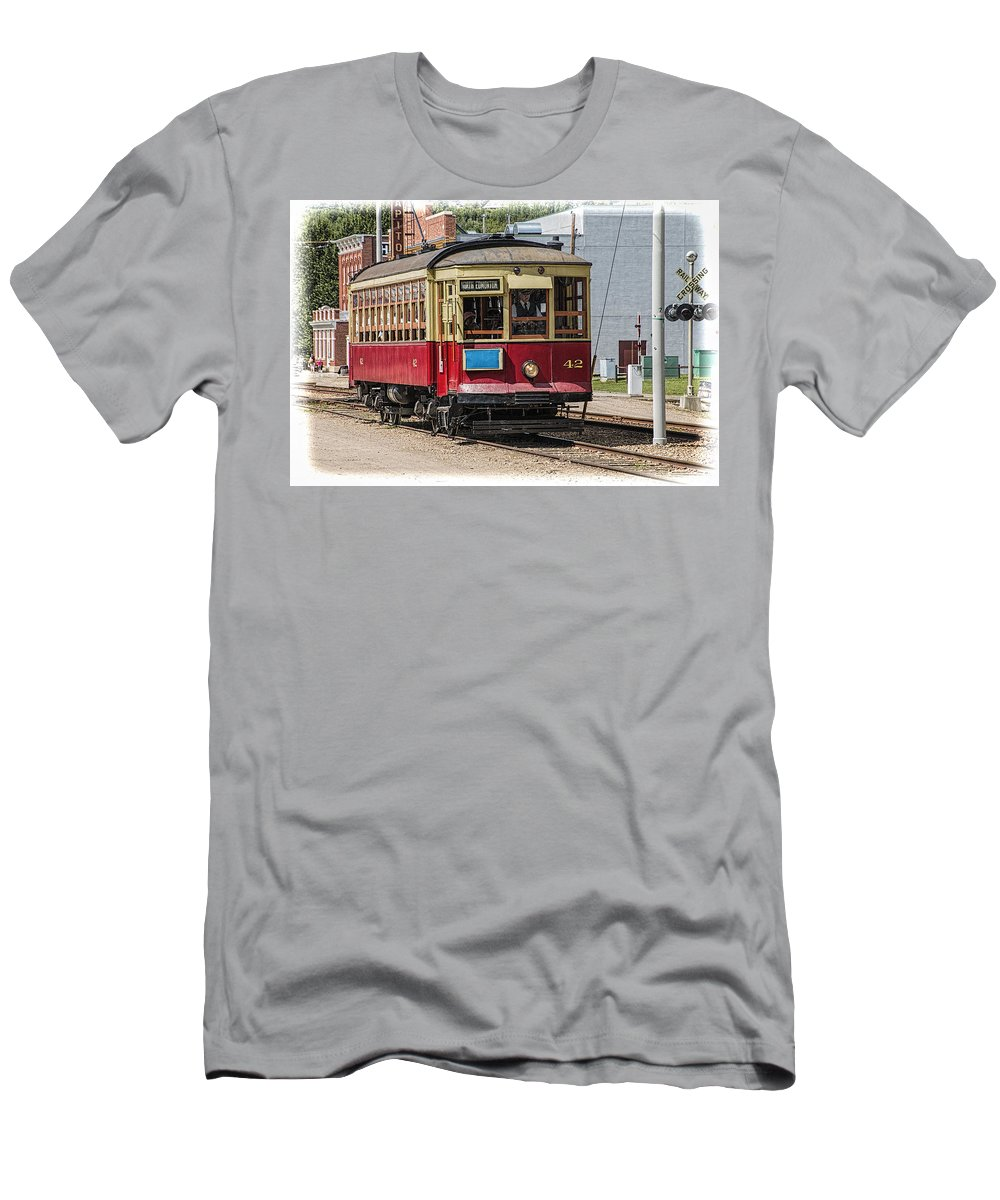 Art Men's T-Shirt (Athletic Fit) featuring the photograph Trolley Car At The Fort Edmonton Park by Randall Nyhof