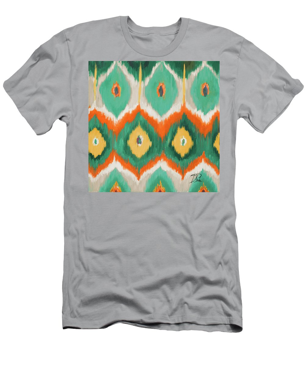Tropical T-Shirt featuring the painting Tropical Ikat II by Patricia Pinto