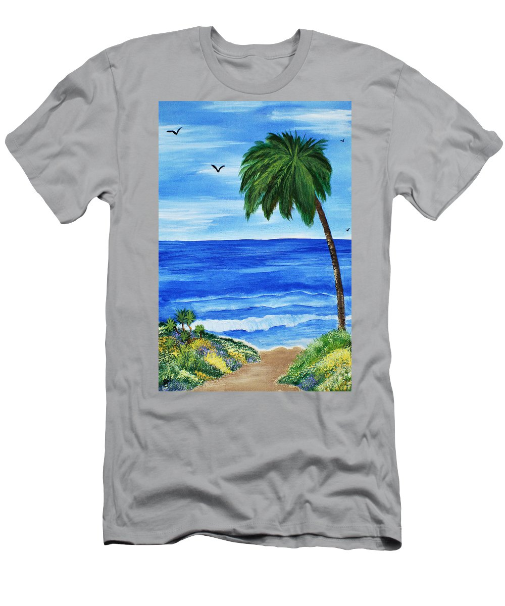 Acrylic Painting Men's T-Shirt (Athletic Fit) featuring the painting Tropical Path by Sherry Allen