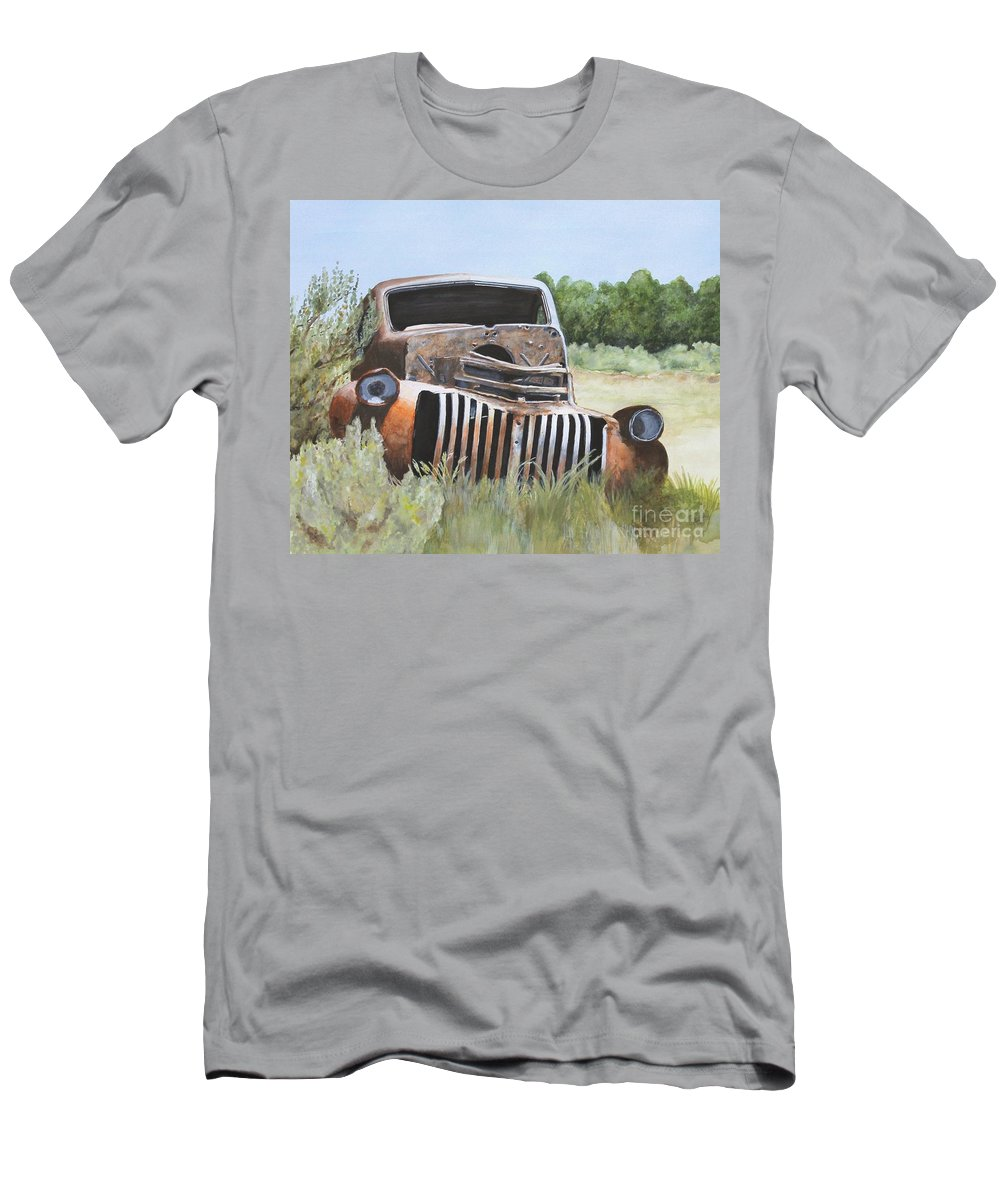 Abandoned Men's T-Shirt (Athletic Fit) featuring the painting Truck Stop by Shirley Miller