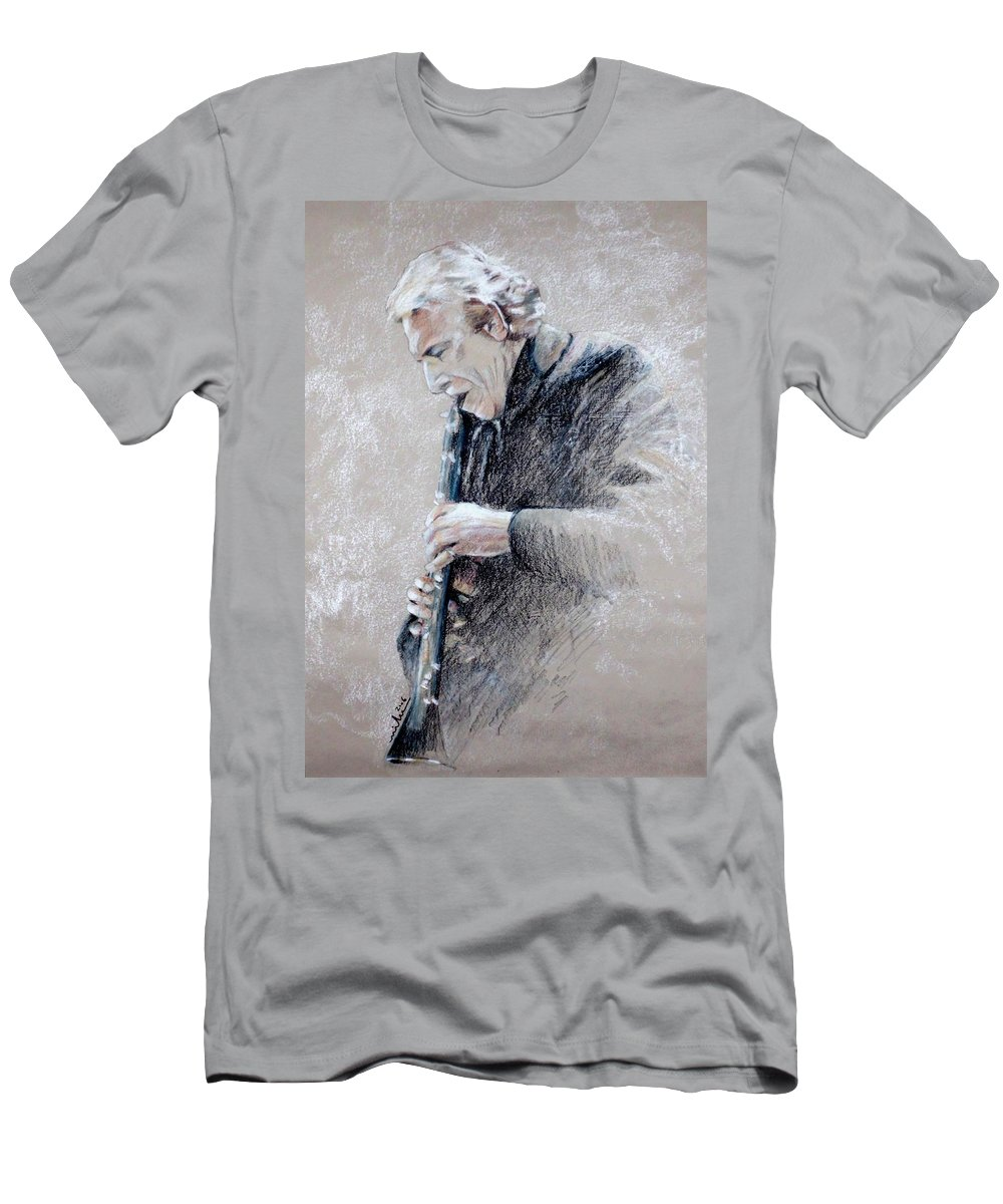 Portraits T-Shirt featuring the painting Trumpetist Flamenco by Miki De Goodaboom