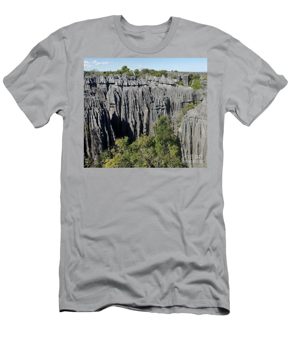 Prott Men's T-Shirt (Athletic Fit) featuring the photograph Tsingy De Bemaraha Madagascar 1 by Rudi Prott
