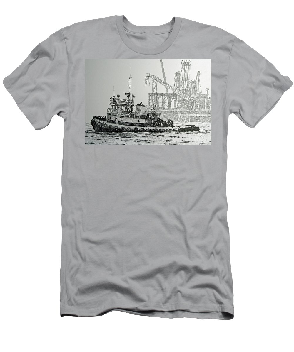 Tugs Men's T-Shirt (Athletic Fit) featuring the drawing Tugboat Martha Foss by James Williamson