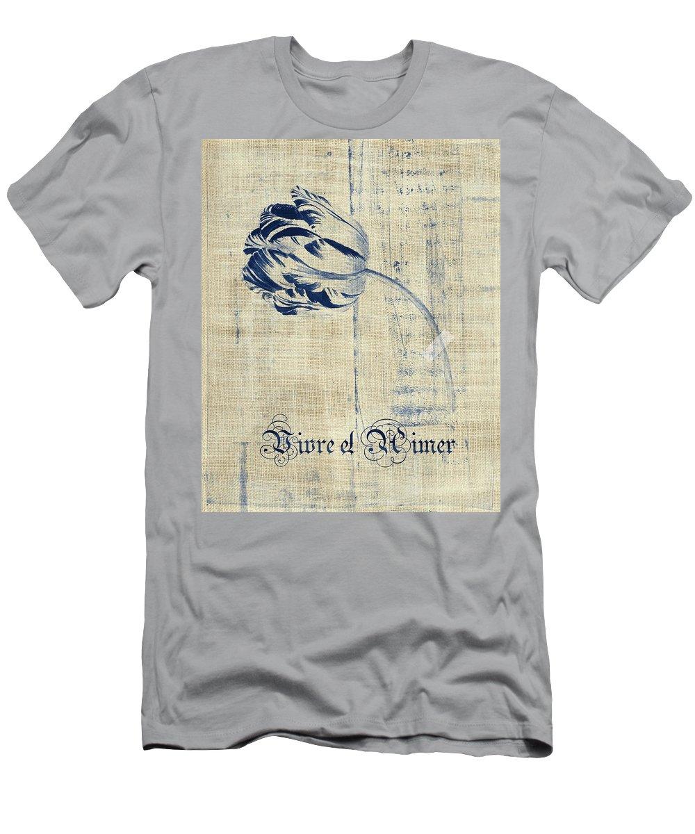 Tulip Men's T-Shirt (Athletic Fit) featuring the digital art Tulip - Vivre Et Aimer S04t03t by Variance Collections