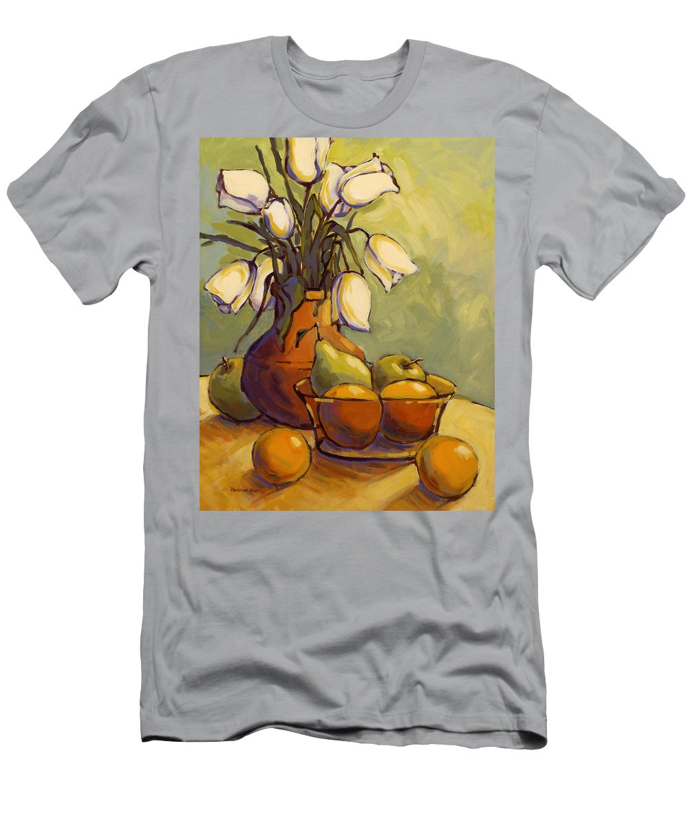 Tulips Men's T-Shirt (Athletic Fit) featuring the painting Tulips 1 by Konnie Kim