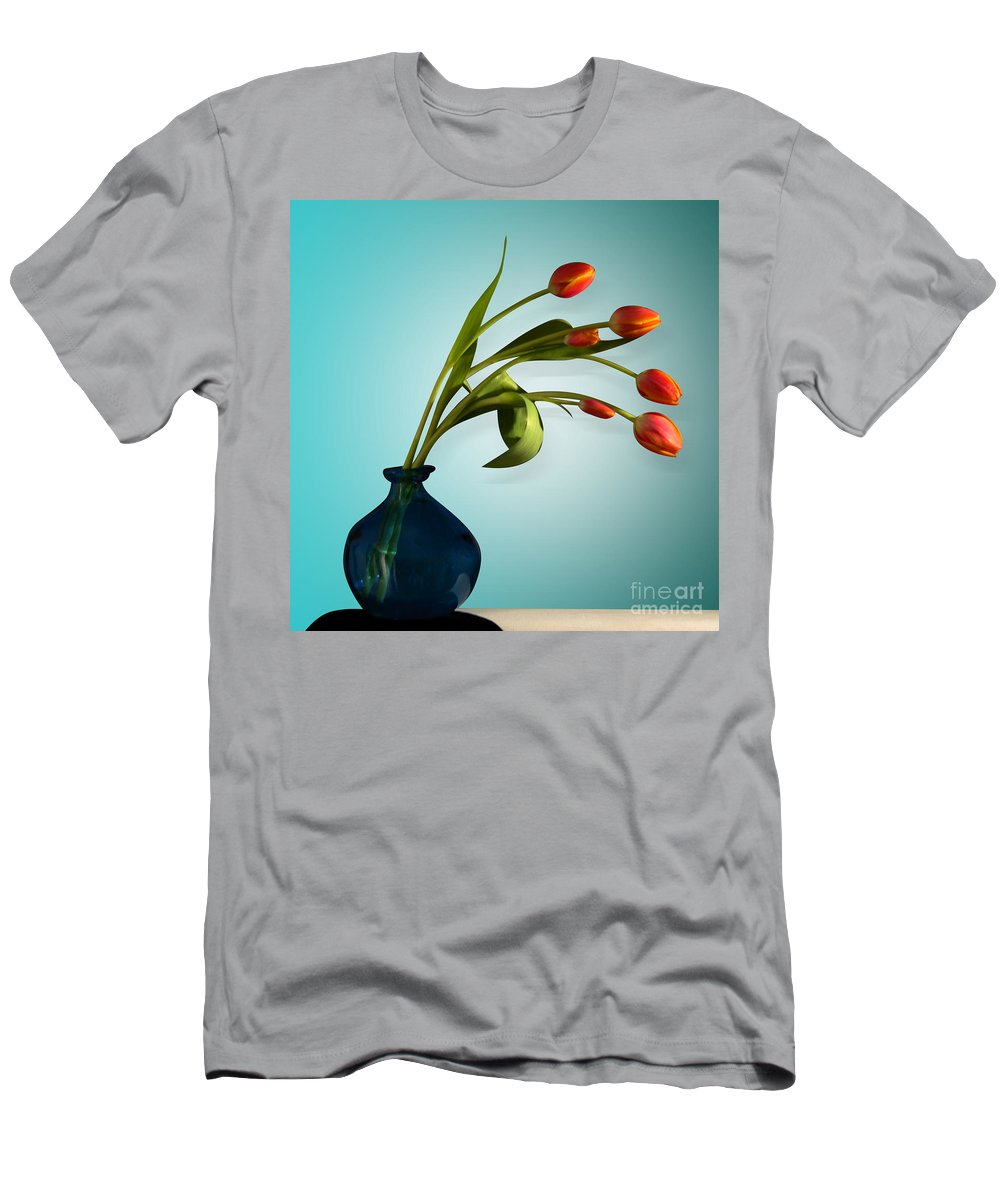 Flowers Men's T-Shirt (Athletic Fit) featuring the photograph Tulips 6 by Mark Ashkenazi