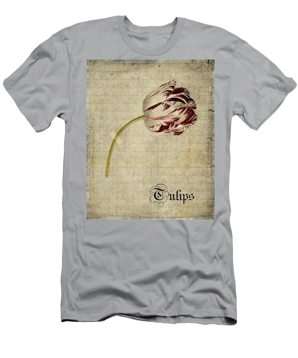 Tulip Men's T-Shirt (Athletic Fit) featuring the digital art Tulips - S01bt2t by Variance Collections