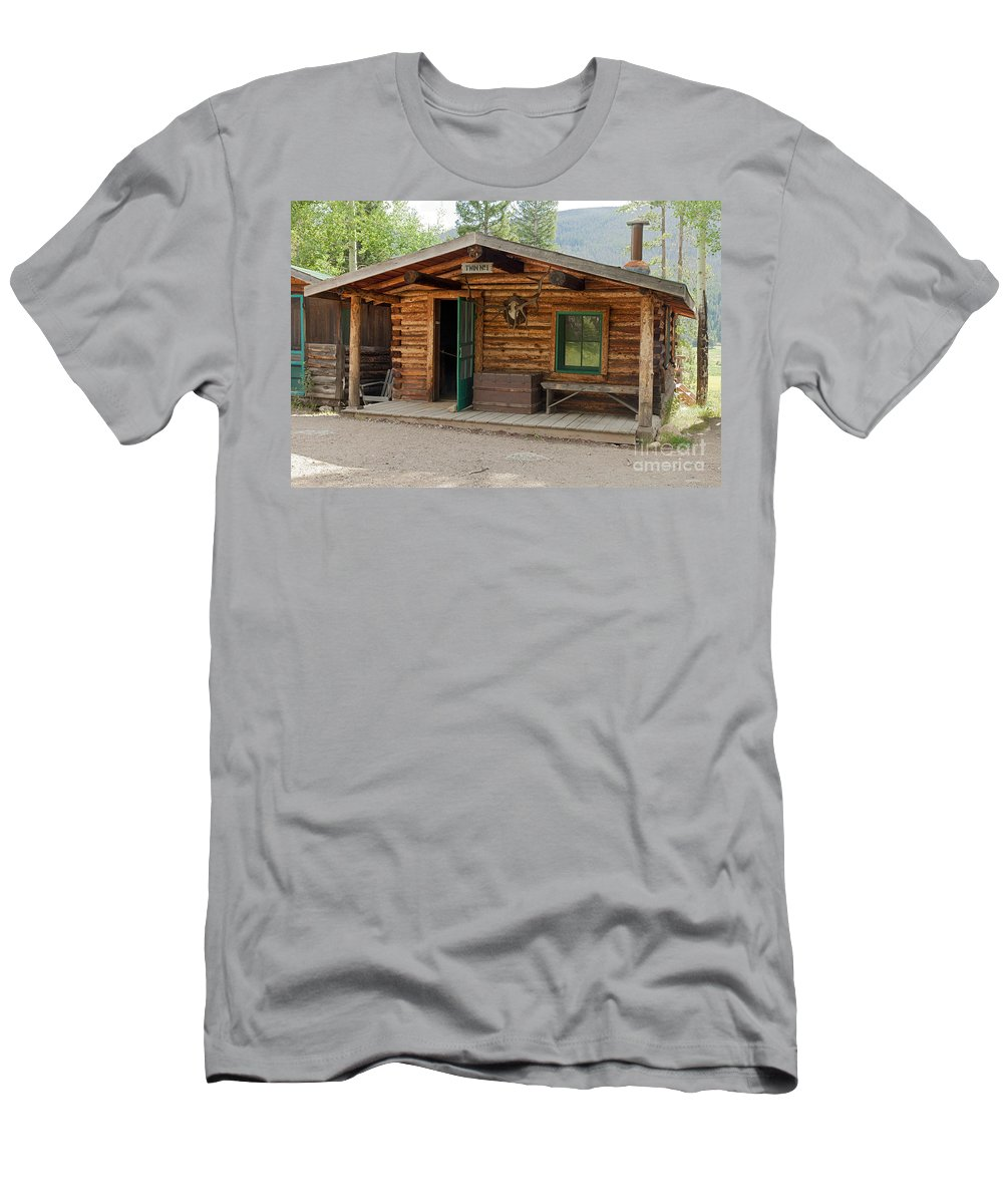 Cabin Men's T-Shirt (Athletic Fit) featuring the photograph Twin No. 1 Cabin At The Holzwarth Historic Site by Fred Stearns