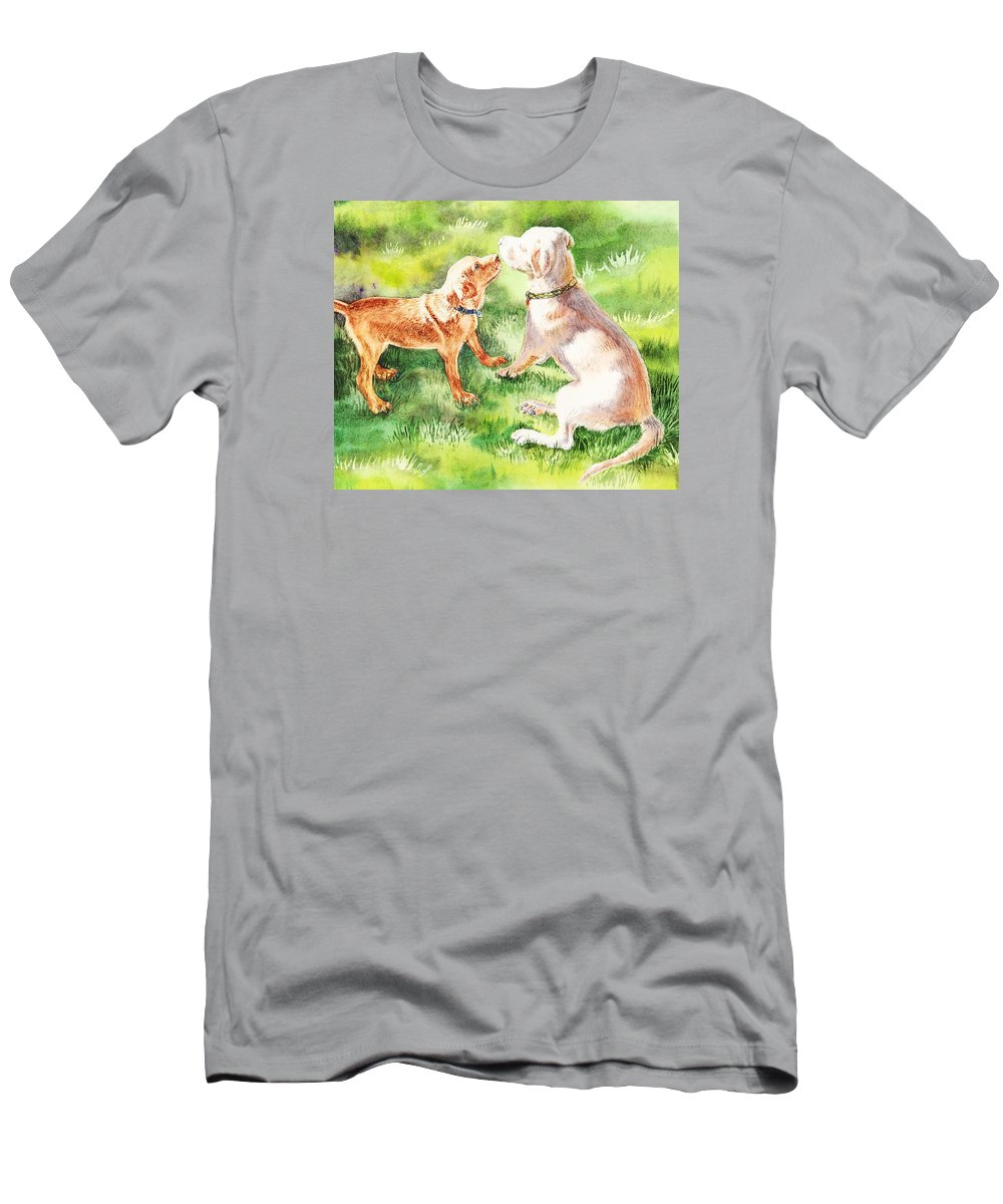 Puppy T-Shirt featuring the painting Two Brothers Labradors by Irina Sztukowski