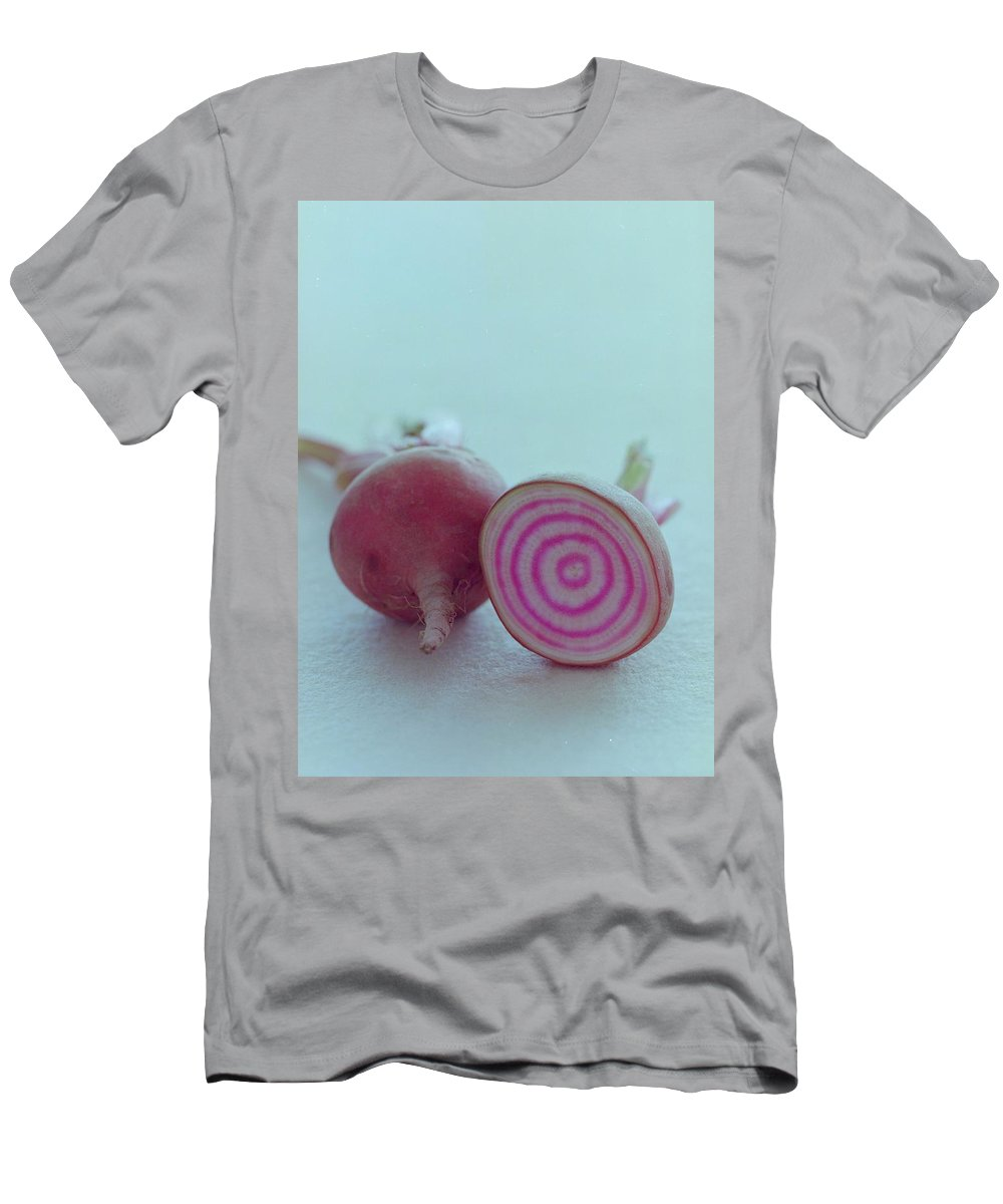 Beet Men's T-Shirt (Athletic Fit) featuring the photograph Two Chioggia Beets by Romulo Yanes