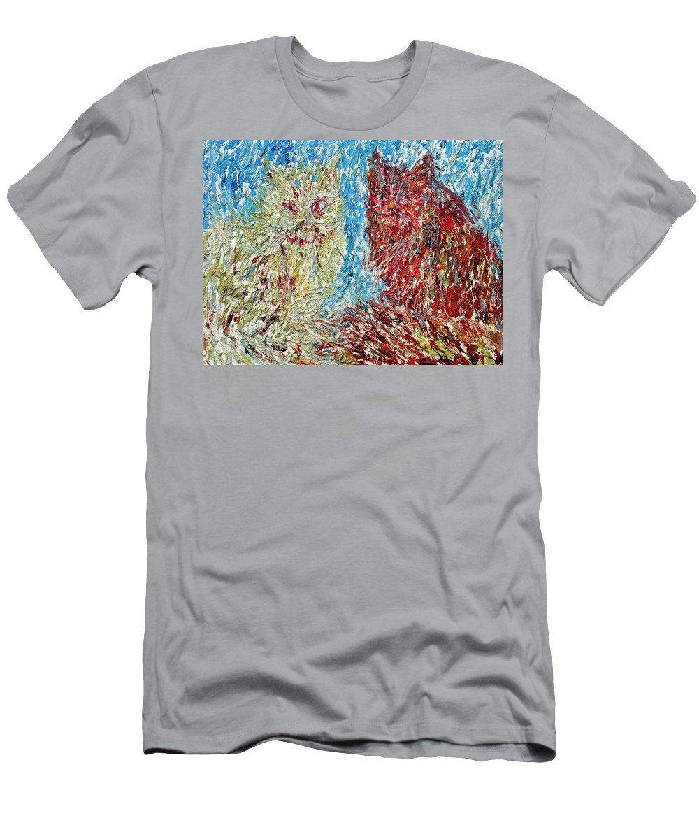 Cat Men's T-Shirt (Athletic Fit) featuring the painting Twelve Passionate Months Led In A Day Of Fate by Fabrizio Cassetta